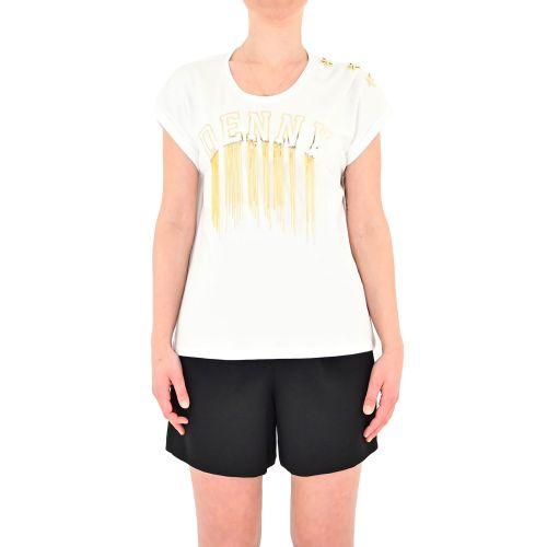 denny rose 111ND64014 2100 t-shirt donna bianco