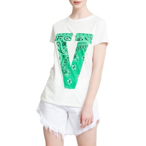 vicolo RH0527 PANNA VERDE t-shirt donna panna e verde