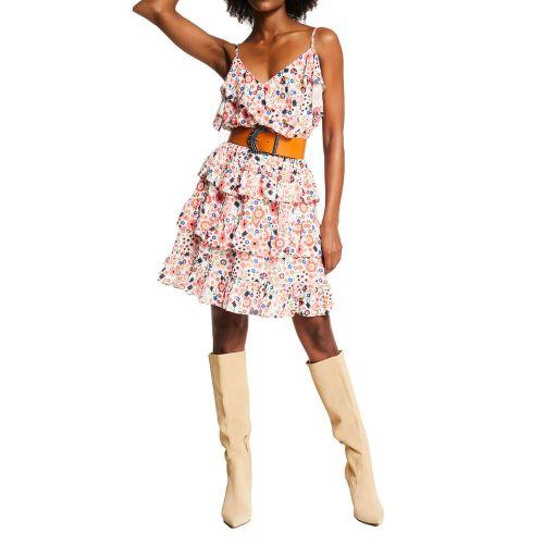 denny rose 111ND15008 118924-01 abito donna arancione e bianco