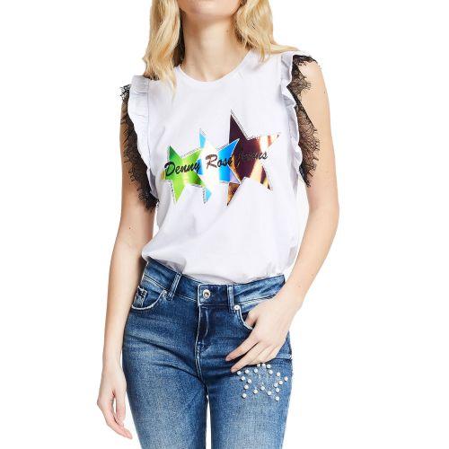 denny rose 111ND64015 2100 t-shirt donna bianco
