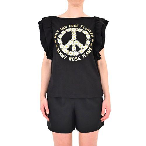 denny rose 111ND64028 2001 t-shirt donna nero