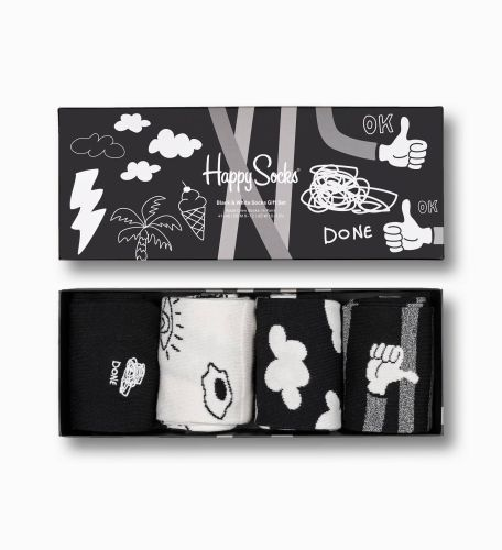 happy socks calzini donna bianco nero PACH BLACK AND WHITE SOCK GIFT/D