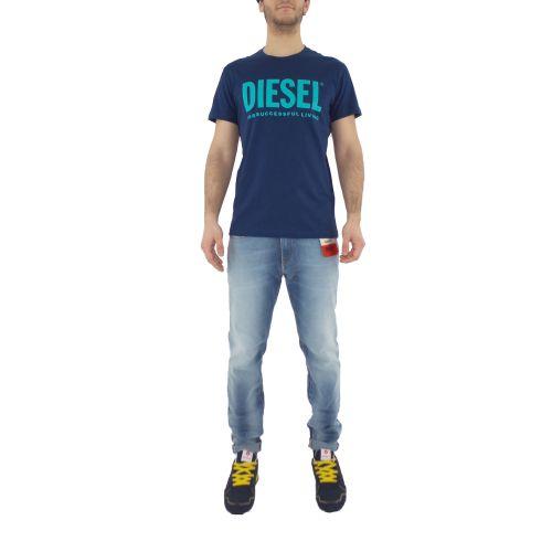 diesel T-DIEGO-LOGO 0AAXJ 8MG t-shirt uomo blu