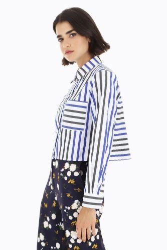 dixie camicia donna bianco blu nero C836S023