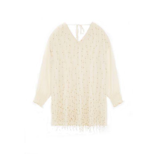 tresor by ottod'ame mini con applicazione frange e gioiello donna maglia TA3808