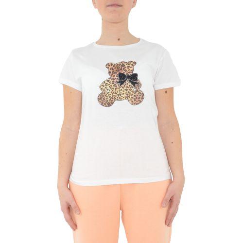 miss love 104 BIANCO/ANIMALIER t-shirt donna bianco