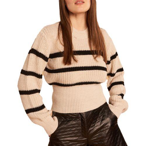 denny rose maglia donna beige nero 121DD50026