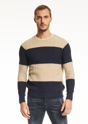 gaudi maglia uomo beige blu 121GU53022