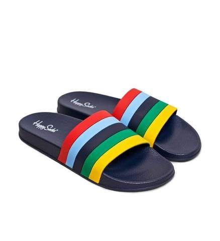 happy socks POOL SLIDER STRIPE/D 6500 ciabatta donna blu