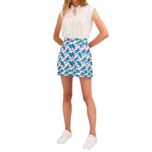 compania fantastica SS21PIC37 U shorts donna celeste e panna