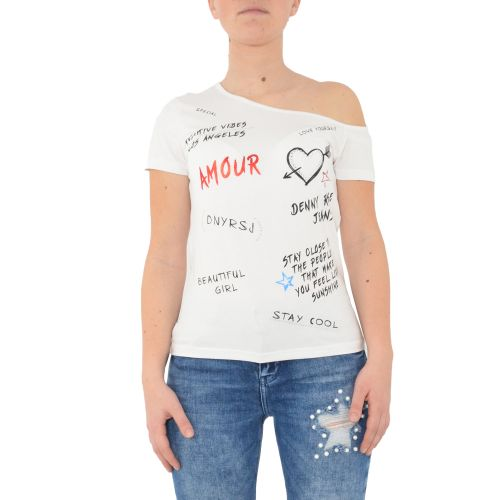 denny rose 111ND64030 2100 t-shirt donna bianco