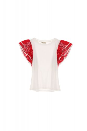dixie T698R107 1365 t-shirt donna bianco e rosso