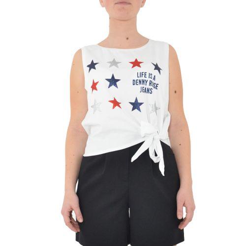 denny rose 111ND64016 2100 t-shirt donna bianco