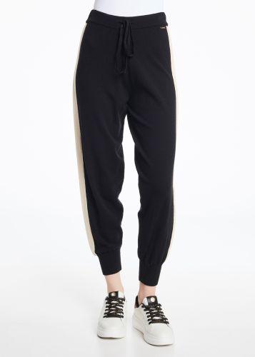 gaudi pantalone donna nero beige 121BD23001