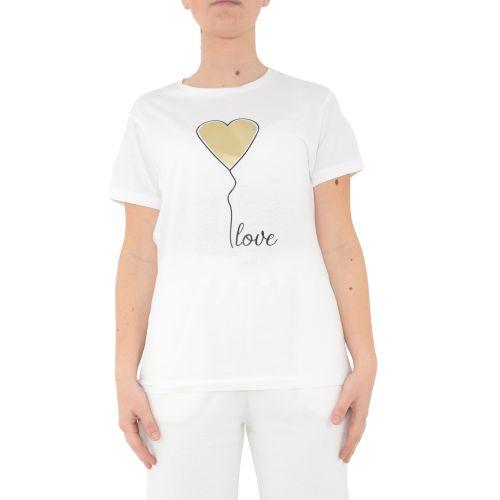 miss love 104 BIANCO/ORO t-shirt donna bianco e oro