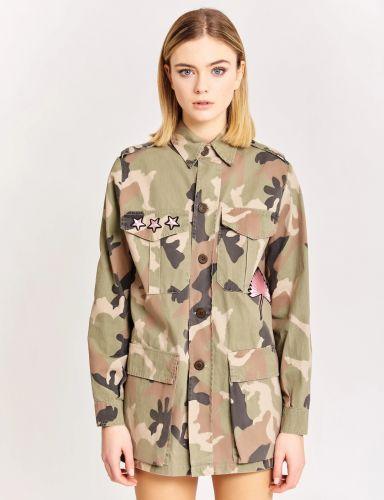 vicolo DH0049 VERDE/BEIGE giacca donna beige e verde
