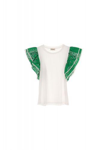 dixie T698R107 1715 t-shirt donna bianco e verde