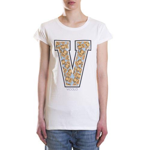 vicolo RH0384 PANNA CELESTE t-shirt donna celeste e panna
