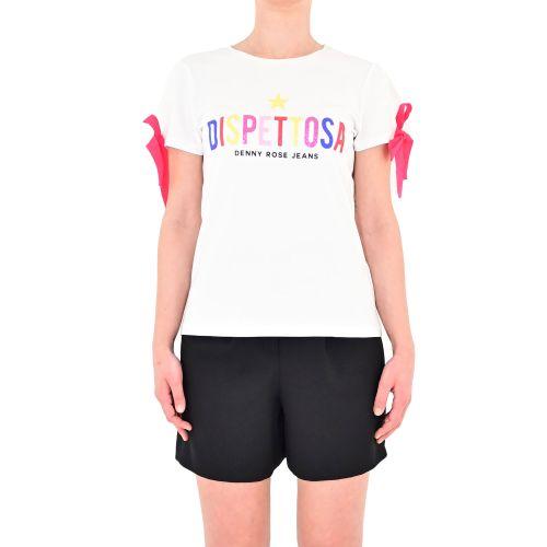 denny rose 111ND64006 2100 t-shirt donna bianco