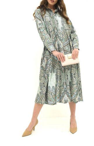 molly bracken PV125E21 MANDALA ALMOND GREEN abito donna verde