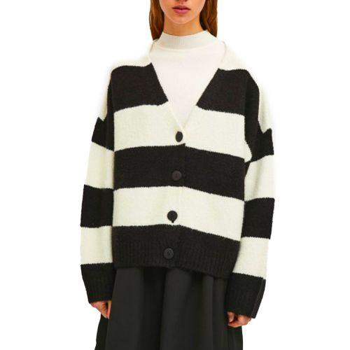 compania fantastica cardigan donna panna nero FA21ETH01
