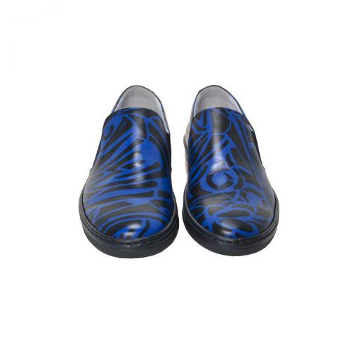 Bruno Antolini Sneakers Uomo in Pelle di Vitello Colore Blu Nero 38551