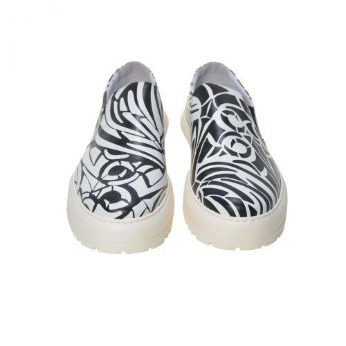 Bruno Antolini Sneakers Uomo in Pelle di Vitello Colore Bianco Nero 38551 con fondo Anaconda