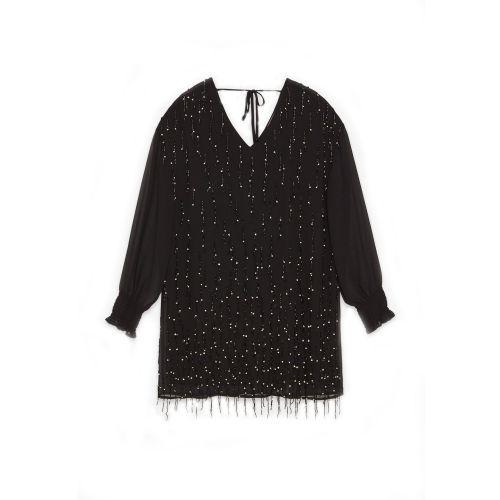 tresor by ottod'ame mini con applicazione frange e gioiello donna camicia TA3808