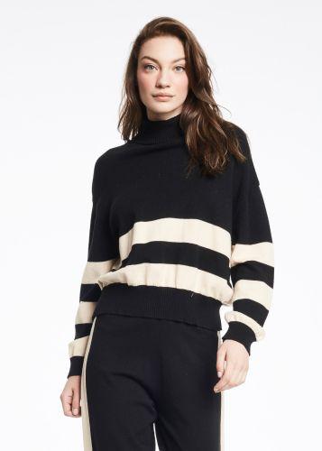 gaudi maglia donna nero beige 121BD53044