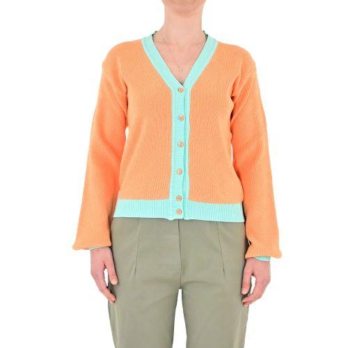 bighet 3601/14 ARANCIO/VERDE ACQUA cardigan donna arancione e verde