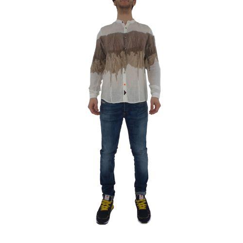 koon C154-CLX U camicia uomo beige e bianco